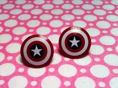 LEGO Captain America Stud Earrings. $10.00, via Etsy.