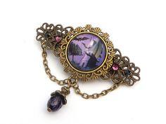 Kleine Haarspange mit Geisterschloß und Fledermäusen in lila