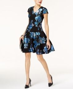 Alfani Petite Floral-Print Fit & Flare Dress, Created for Macy's - Blue 16P
