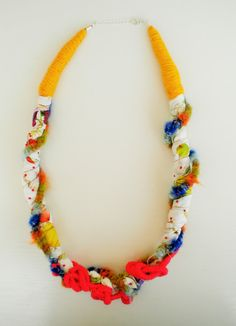 Your place to buy and sell all things handmade - jewelry colorful necklace spring necklace bib necklace by Jiakuma - Diy Jewelry Unique, Weird Jewelry, Diy Jewelry To Sell, Diy Jewelry Making, Unique Necklaces, Handmade Jewelry, Jewlery, Textile Jewelry, Fabric Jewelry
