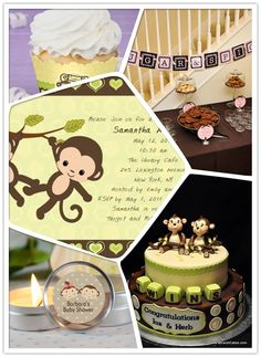 Double trouble! Monkey themed baby shower for twins! #babyshowerideas #babyshowerthemes #twinsbabyshower