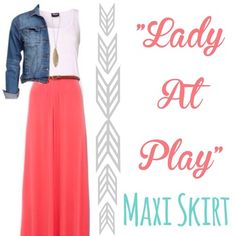 Coral maxi skirt $20 / MisBhaven Boutique