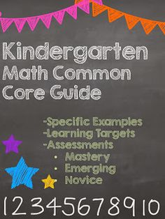 This guide to Math Common Core is sure to please all Kindergarten teachers.  It features specific examples for each standard, a learning target (I Can Statement) for each standard AND an three examples of assessment for every standard.  Did I mention that this is a FREE guide?