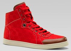Gucci Red Nylon Guccissimi Print and Leather Trim Sneakers