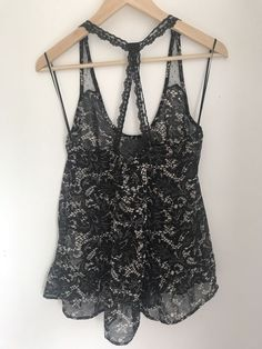 6f22768a5a43f Black Cream Top Size Medium Stradivarius Lace Straps Camisole Top  fashion   clothing  shoes