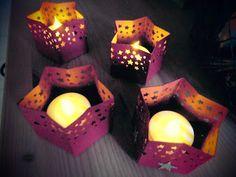 ...kleine Stern-Teelichter....mit dem Geschenktüten-Board.... (Kreativ am Deich)