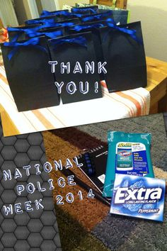 Police thank you gift: Clorox wipes, notepad, pen, sharpie, gum, Thin Blue Line paracord key fob (Etsy), and a brownie!