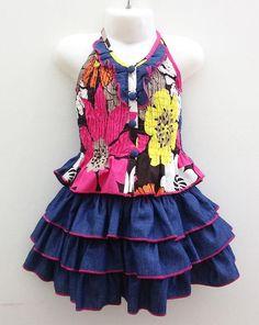 LL717-SJ-3-HP Girls 2-8 Skirt Set