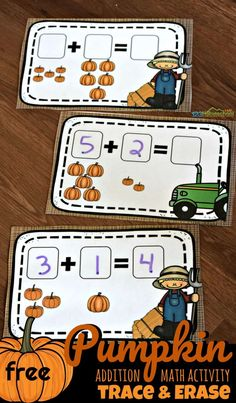 FREE Pumpkin Math Activity - fun addition math practice for prek, kindergarten, and first graders during October for a pumpkin themed educational activity #pumpkin #addition #kindergarten