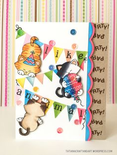 Party Like Animal handmade birthday card. Used #newtonsnook Naughty Newton, Newton's Birthday Bash and Newton's Antics stamp sets.