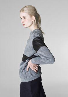 RIYKA grey oversized unisex leather panelled jumper / sweatshirt