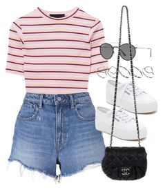 """Sin título #12467"" by vany-alvarado ❤ liked on Polyvore featuring T By Alexander Wang, Superga, Ray-Ban, ASOS and Chanel"