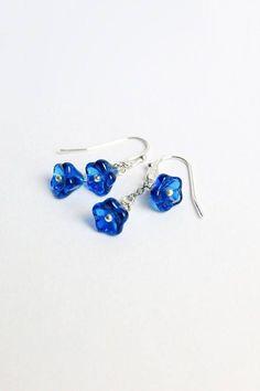 royal blue earrings drop earrings tiny flower jewelry double earrings gift daughter cute jewelry summer earrings dark blue jewelry gift W266 #ad