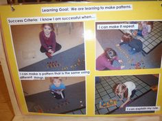 Kindergarten at Banbury Heights: Success Criteria and Learning Goals. Nice use of visuals to share learning expectations! Patterning Kindergarten, Preschool Learning, Kindergarten Classroom, Kindergarten Activities, Teaching Math, Assessment For Learning, Learning Targets, Learning Objectives, Play Based Learning