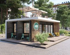 Cafe in Minsk, Belarus on Behance Cafe Shop Design, Kiosk Design, Restaurant Interior Design, Modern Restaurant, Container Architecture, Architecture Design, Container Coffee Shop, Casa Loft, Cafe Concept