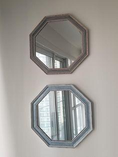 Espejos rústicos azules, Espejos náuticos, Par de espejos azules, Espejos azules hechos a mano, Decoración de sala, Decoración d niños