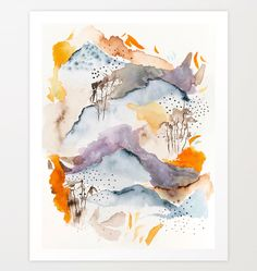 Marmalade mountains / watercolour/ abstract / society6/dansedelune