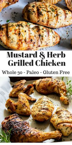 Tangy mustard meet with fresh herbs in this juicy grilled chicken recipe. With instructions for how to use this marinade with three different cuts of chicken to keep the whole family happy. Juicy Grilled Chicken Recipe, Chicken Marinade Recipes, Chicken Marinades, Grilled Meat, Easy Chicken Recipes, Grilling Recipes, Paleo Recipes, Mustard Chicken Marinade, Healthy Grilled Chicken Recipes