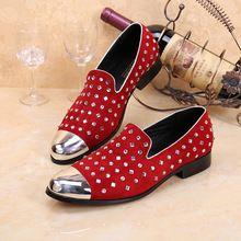 Mens Dress Shoes Genuine Leather Red Slip On Men FLat Slippers shoes Mens Velvet…