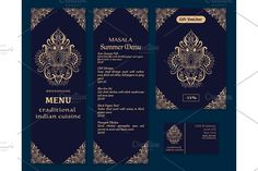 Vector illustration of a menu for a restaurant or cafe Indian oriental cuisine, business cards and vouchers. Hand-drawn gold pattern on a dark background. Logos Lotus flower. by Della_Liner on @creativemarket