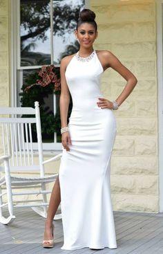 Charming Round Collar Sleeveless High Slit Maxi Dress For Women