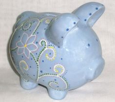 Hand painted Ceramic Piggy Bank  Light Blue  by VickyLynnDesigns, $27.50