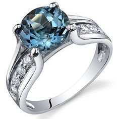 Solitaire Style  2.25 cts London Blue Topaz Ring Sterling Silver Sizes 5 to 9