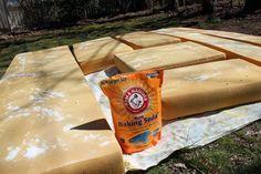 how to clean camper cushions..baking soda, vinegar/water mix, sunshine $4