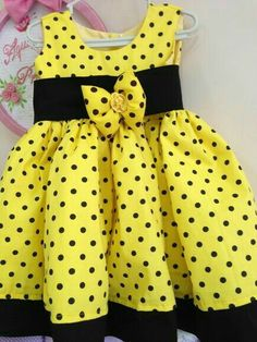 yellow and black African Dresses For Kids, Little Dresses, Little Girl Dresses, Baby Frocks Designs, Kids Frocks Design, Baby Girl Dress Patterns, Baby Clothes Patterns, Kids Dress Wear, Baby Dress Design