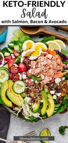 This Keto-Friendly Salad will fill you up and please your taste buds! It's made with the perfect mixture of salmon, bacon, avocado, eggs, and cucumbers. Plus, it's drizzled in a homemade vinaigrette dressing. Enjoy it for lunch or make it the main course for dinner!