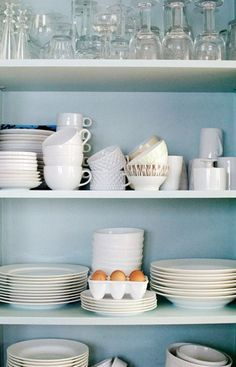 kitchen storage tricks  - I'd like the pantry to be painted and either wire shelving or wood shelves like this.