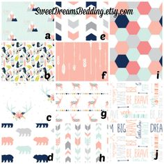Crib Bedding Woodland  Mint Coral Navy Gracie Girl  Bedding.   Customize your set: crib sheet, changing cover, skirt, bumper, blanket by SweetDreamsBedding on Etsy