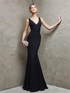 Corset V-neck Mermaid Chapel Train Chiffon Black Prom Dress PD12099