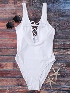 Lace Up Plunging Neck Swimwear - WHITE S