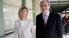 """Federal Opposition Leader Kevin Rudd and Labor candidate for Bennelong Maxine McKew in 2007. Kevin Rudd has denied ghostwriting Maxine McKew's book, saying the claim is """"sexist""""."""