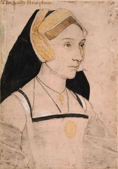 """Mary, Lady Heveningham (1510/15-1570/71), Hans Holbein the Younger, c. 1532-43. """"A portrait drawing of Mary, Lady Heveningham (1510/15-1570/71), wife of Sir Anthony Heveningham, daughter of Sir John Shelton, and cousin of Queen Anne Boleyn. A bust length portrait facing three-quarters to the right. She wears a necklace, pendant and medallion. Inscribed in an eighteenth-century hand at upper left: The Lady Henegham."""""""