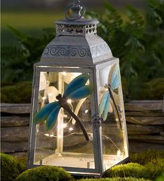 Large Metal Dragonfly Lantern in Solar and Glow Accents