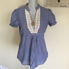 Eyeshadow Denim Vintage Top Eyeshadow denim Decorative vintage top, Great condition, Machine washable,  100% cotton, elastic bands around arms Eyeshadow Tops Tees - Short Sleeve