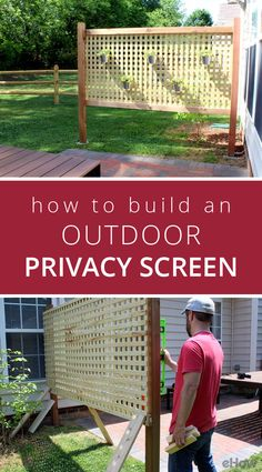 Need some privacy in your backyard? Or maybe you just want to create a divide from the play area and the dining area outside? This is a great option! This outdoor privacy screen can be painted and customized to fit your style! Easy to build: http://www.ehow.com/how_2157327_build-outdoor-privacy-screen.html?utm_source=pinterest.com&utm_medium=referral&utm_content=freestyle&utm_campaign=fanpage