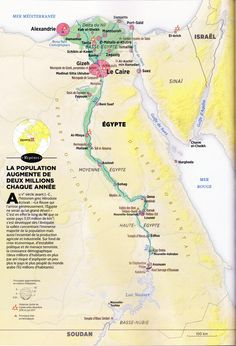 GEO / L'Égypte moderne / Modern Egypt, map created by Hugues Piolet for GEO Magazine