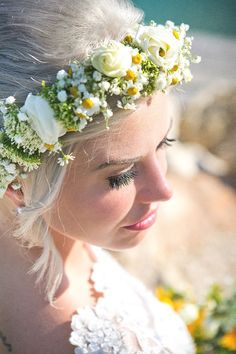 #floralcrown #yellowflowers #whiteflowers #kefalonia Floral Crown, Event Styling, Yellow Flowers, Bridal, Creative, Wedding, Beautiful, Design, Valentines Day Weddings
