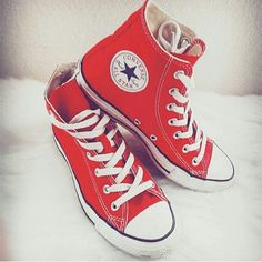 Red Converse High-tops Red Converse High-tops. Lightly worn. Converse Shoes Sneakers