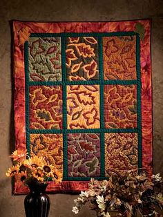 Quilting - Holiday & Seasonal Patterns - Autumn Patterns - Fall Leaves Wall Quilt