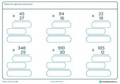 Ficha de multiplicar con llevada para Primaria