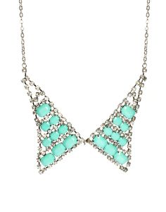 ASOS Collection Limited Edition Rhinestone Collar Necklace $29.83 #fashion #accessories #jewelry #necklace #collar #asos #silver #chain #rhinestone #blue #mint #teal #style #stylish #gift #chic