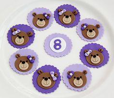 Teddy Bear Cupcake Toppers Teddy Bear Cupcakes, Teddy Bear Party, Teddy Bear Birthday, Animal Cupcakes, Cute Cupcakes, Decorated Cupcakes, Fondant Toppers, Cupcake Toppers, Cupcake Cakes