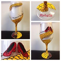 Wizard of Oz Glass by SistersNStuff on Etsy, Wizard Of Oz Gifts, Wizard Of Oz Decor, Wizard Of Oz Dolls, Diy Wine Glasses, Decorated Wine Glasses, Hand Painted Wine Glasses, Wine Glass Crafts, Broadway, Glass Design