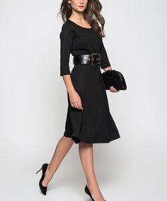 http://www.zulily.com/invite/ws620  at this #zulilyfind! Black Three-Quarter Sleeve A-Line Dress #zulilyfinds