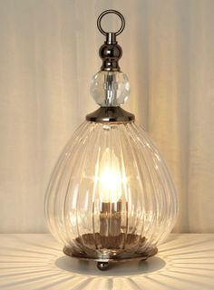 BHS // Vintage // Mirielle Table Lamp // Antique style ribbed glass vessel table light