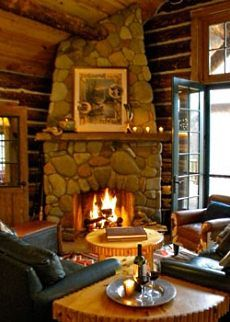 cabin with fireplace. just makes me wanna curl up with a hot chocolate The Pointe  Amazing Views Meet Timeless Charm at Rustic Mountain